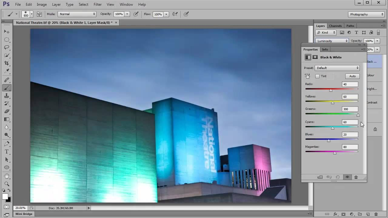 Control colour luminosity with a Black & White Layer in