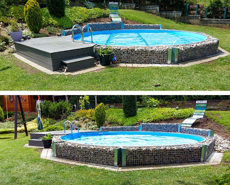 Ein Wahrer Blickfang Mit Dieser Kreativen Stein Umrahmung Wird Der Stahlwand Rundpool Richtig Veredelt Wer Mochte Da Nicht So Pool Gartenpools Pool Im Garten