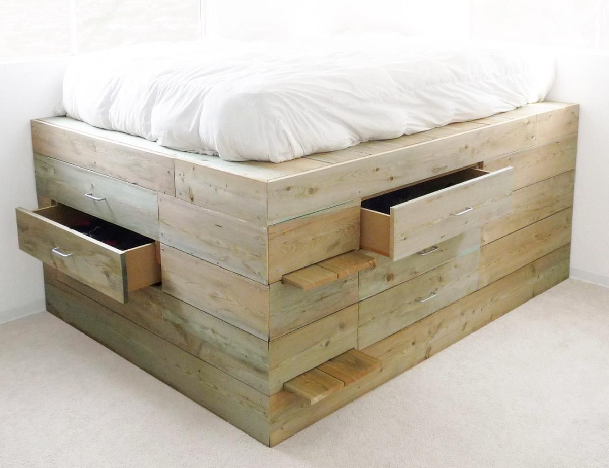 Raised platform beds with storage of the raised platform for Pedestal bed