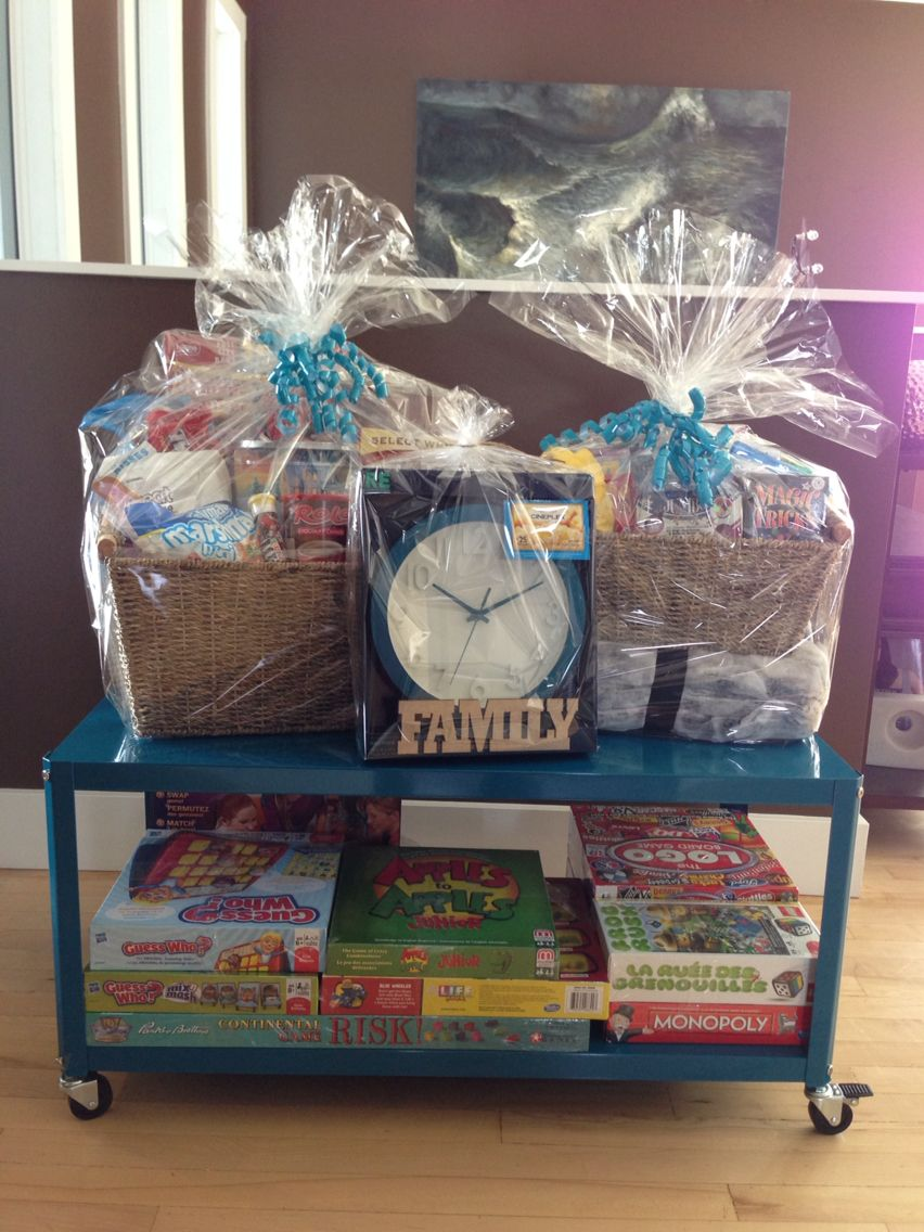 Family Game Night Basket Theme All Items Donated Wheeled Rack Baskets Purchased For