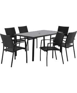 Lima Rattan Effect 6 Seater Patio Furniture Set   Black.