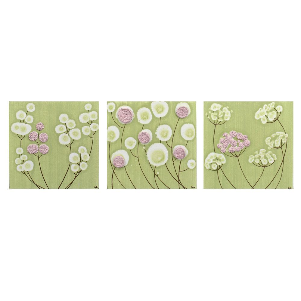 Nursery Decor - Set of Three Canvas Paintings of Flowers - Green and ...