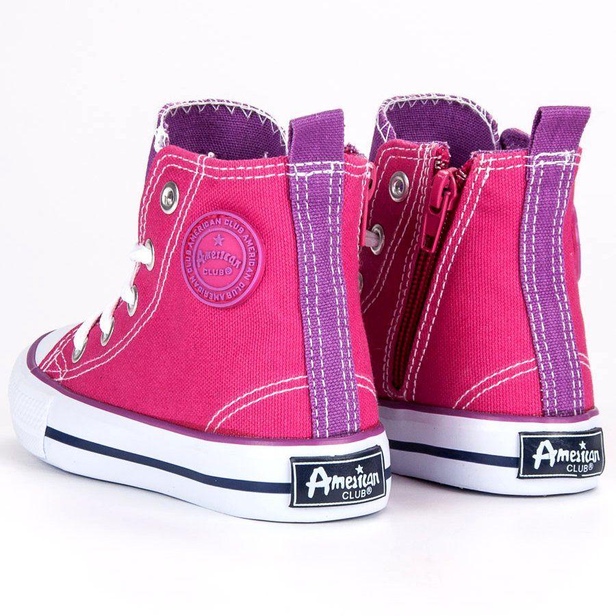35375061 #Buty sportowe dziecięce #Dla dzieci #AmericanClub #American #Club #Różowe # Trampki #Nad #Kostkę #American
