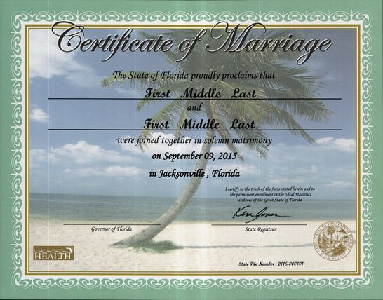 Commemorative Marriage Certificates Florida Department Of Health - sample marriage certificate