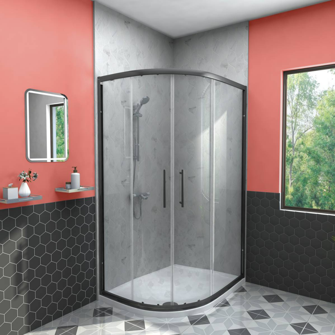 Black and 'Living Coral' contrast so well! Black shower