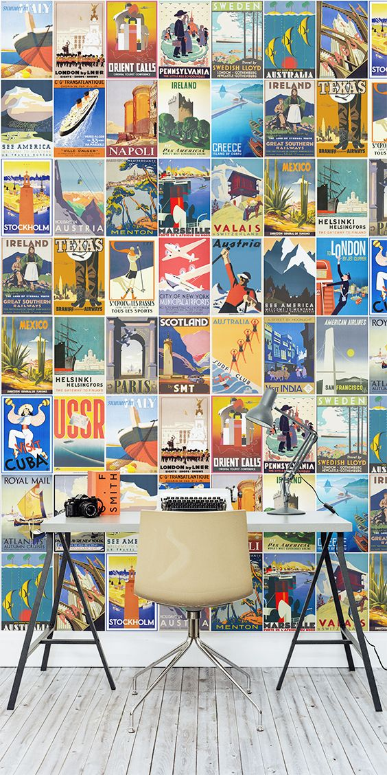 This Retro Wallpaper Design Is Both Quirky And Fun Encompassing Some Of The Most Stylish Vintage Travel Posters Out There Bring Back Into Your