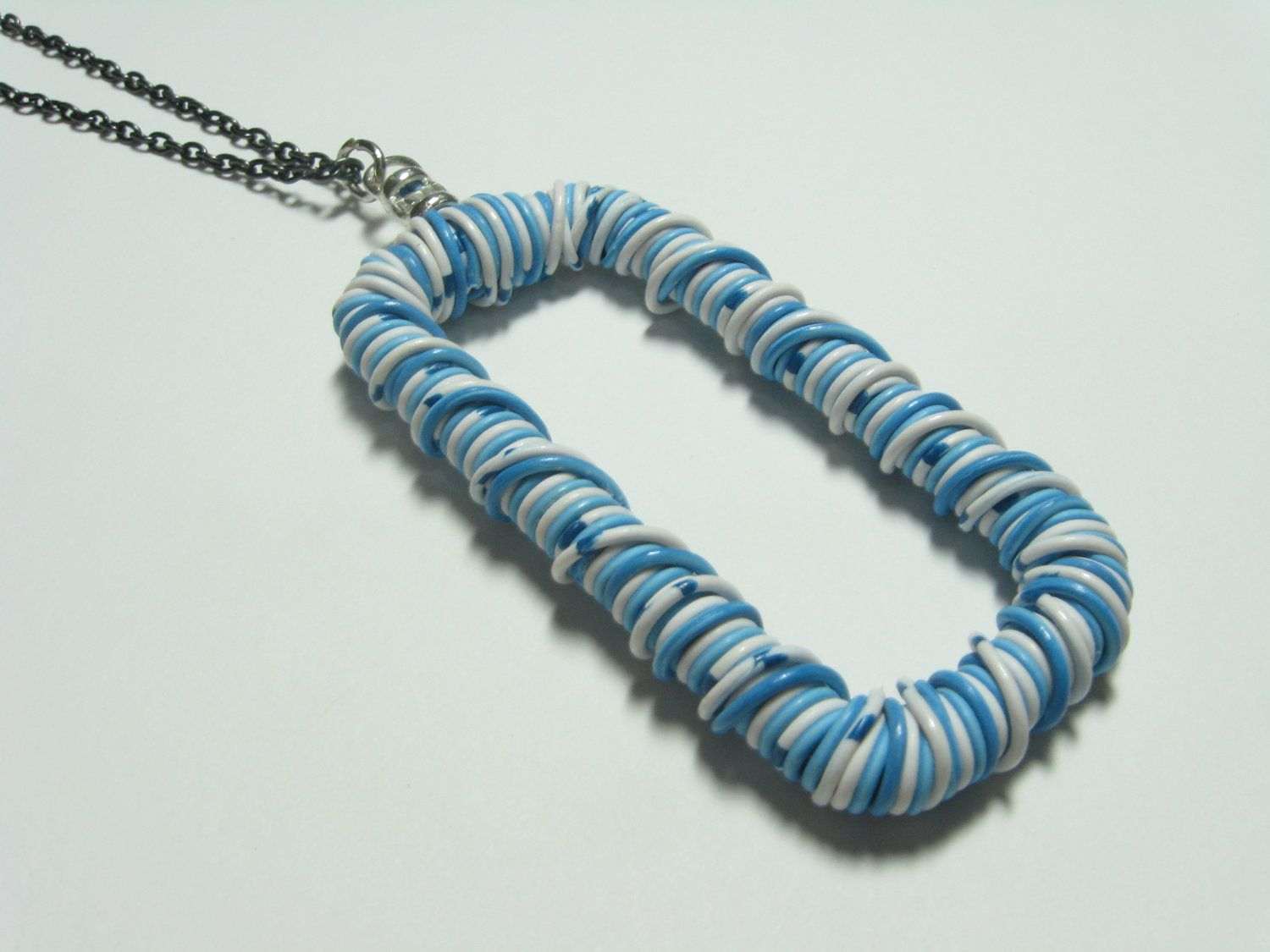 Wire wrapped necklace blue and white eco friendly telephone wire ...