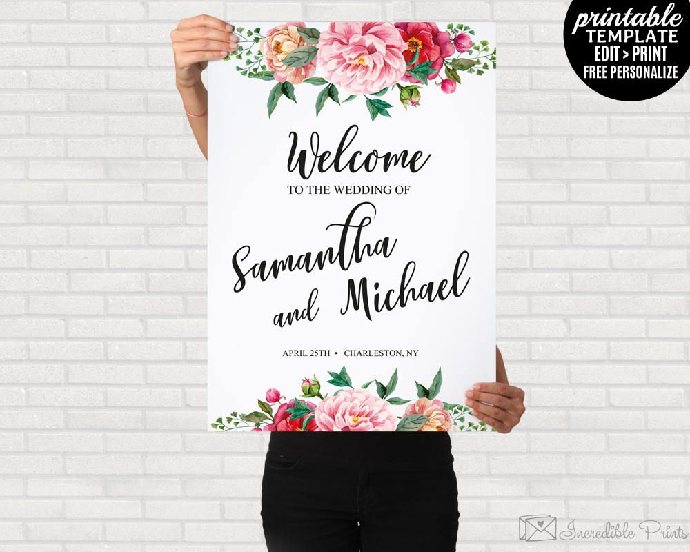 Floral Wedding Welcome Poster Printable Template Spring