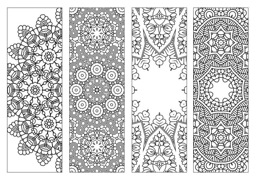 4 Bookmarks,Printable Intricate Mandala Coloring Pages,Instant Download,PDF,Mandala Doodling