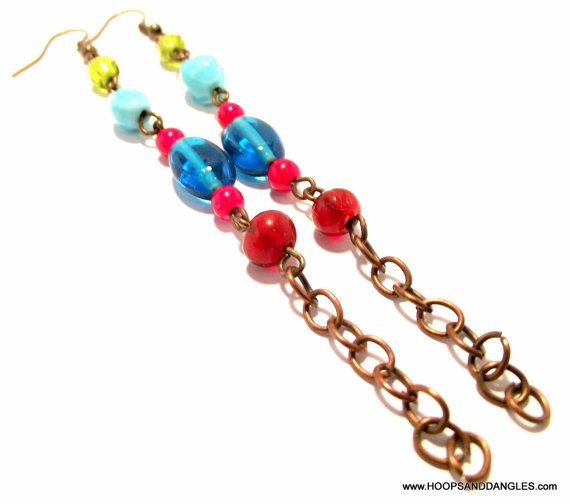 Handcrafted Costume Jewelry Vintage Blue Red by hoopsanddangles, $3.99