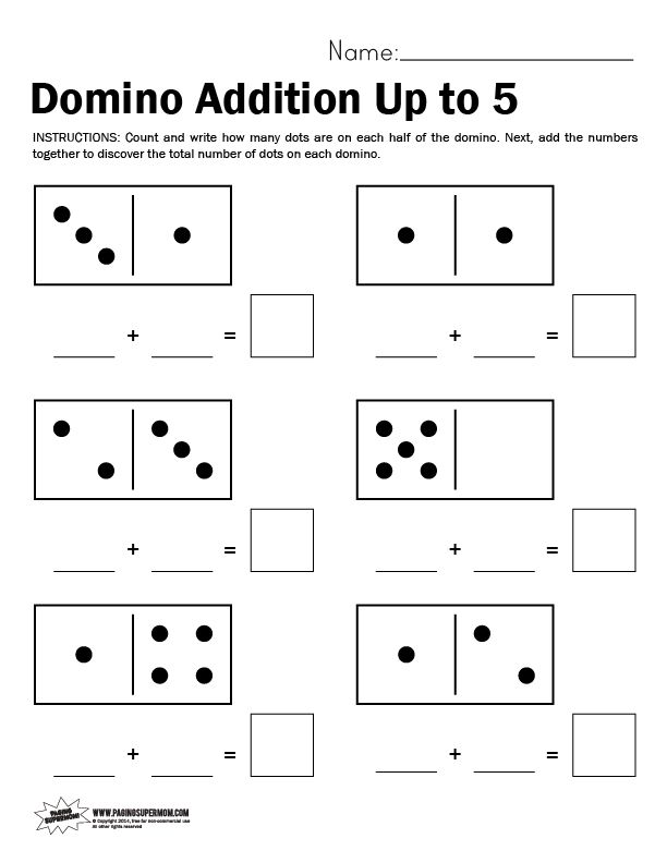 Domino Math Worksheet, Adding Up to 5 | Math worksheets, Worksheets ...