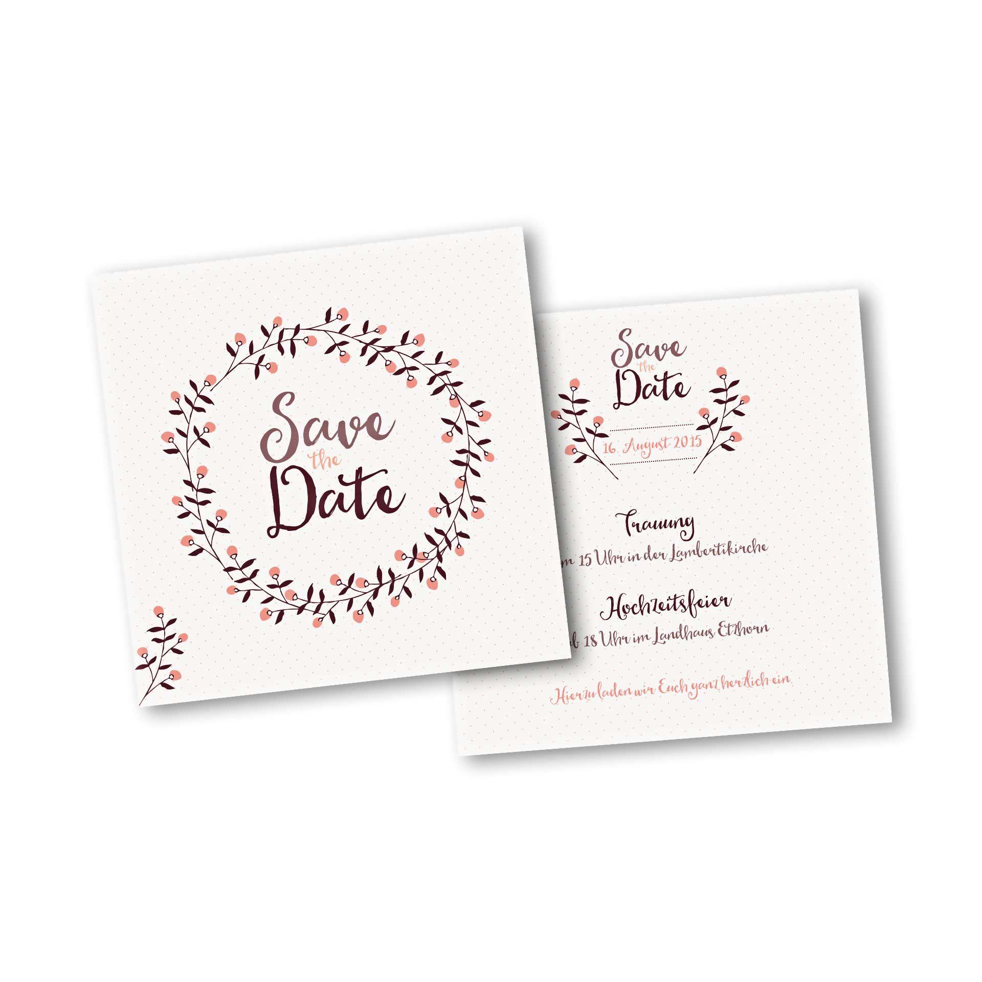 Hochzeitskarten Save The Date Karte 2 Seiter Quadratisch