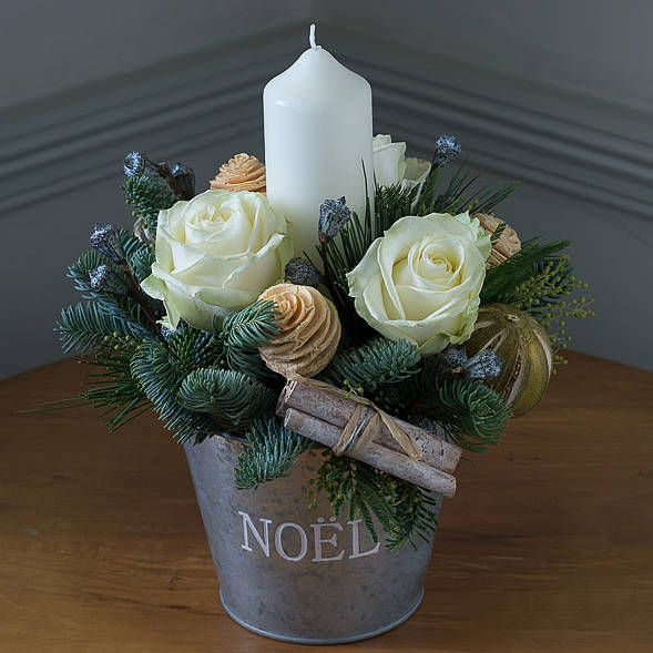 Winter white noel flower bucket with candle by the flower studio winter white noel flower bucket with candle mightylinksfo Gallery