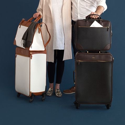 For business or pleasure: The Concourse Collection is made from lightweight leather-like vinyl that will withstand the demands of airline travel. A distinguished and clever design, with smart features and easy-spinning wheels, add your unique monogram to make it yours.