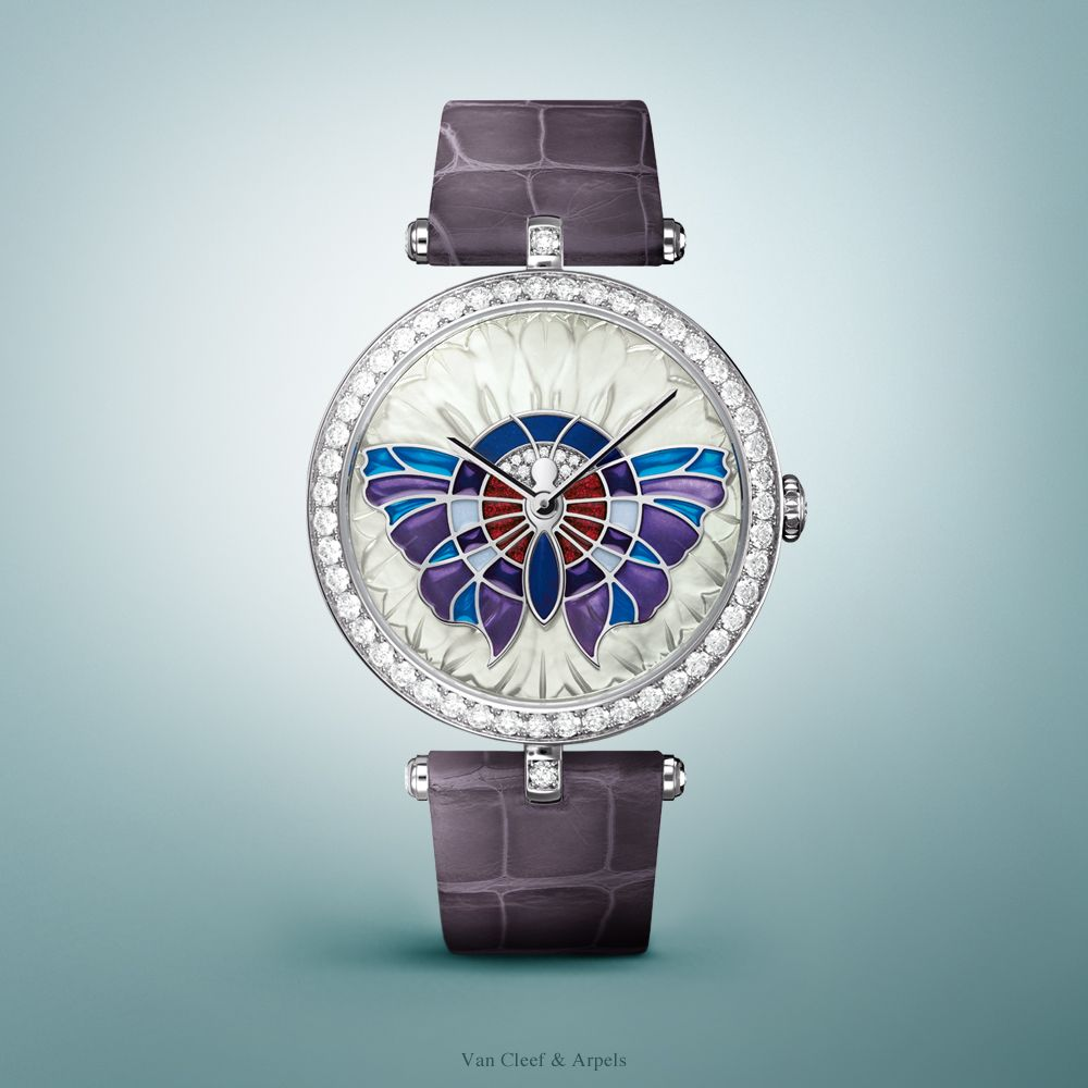 This selection of watches from the Poetry of Time™ offer a poetic and captivating spectacle evoking the springtime awakening and the renewed vitality of flora and fauna. Van Cleef & Arpels Lady Arpels Papillon Extraordinaire watch - lapis lazuli, sculpture on gold and mother-of-pearl, plique-à-jour enameling, diamonds. Find out more about this timepiece: http://goo.gl/qRQckD