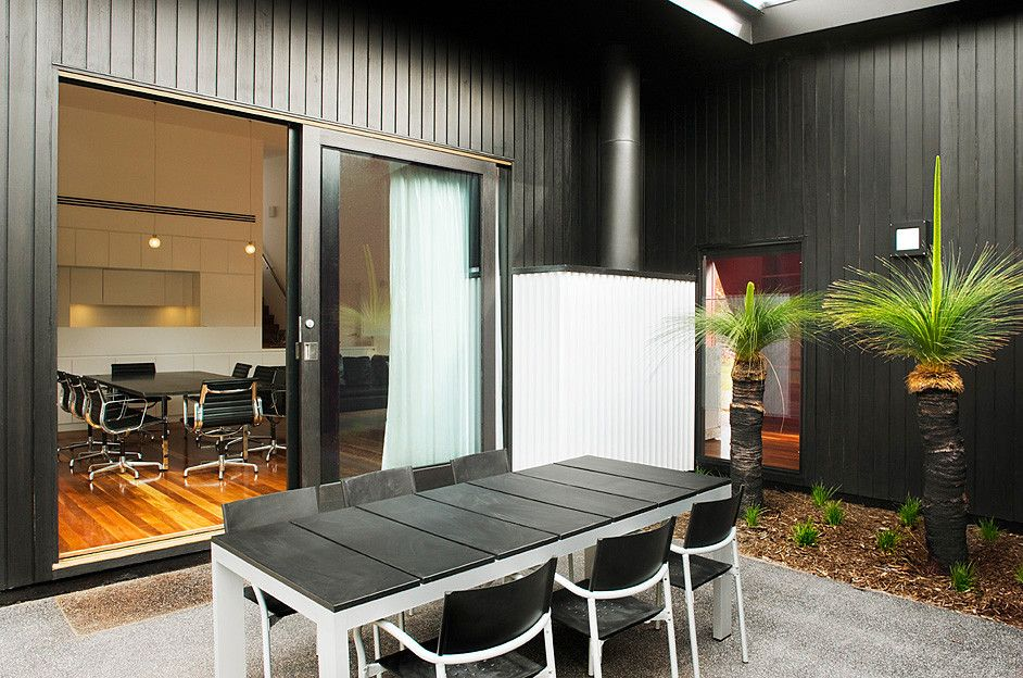 Letterbox House   Modernist Outdoor Living Area   Matching Theme Of  Neighbouring Modern Houses.