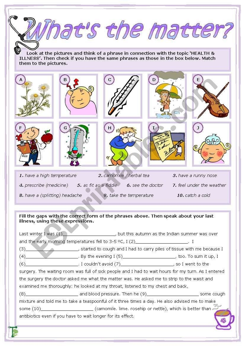 What is Matter Worksheet What´s the Matter Esl Worksheet by Tecus   Matter  worksheets [ 1169 x 821 Pixel ]
