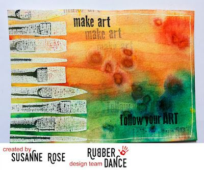 Rubber Dance Blog: March Challenge, 2016. Stamped postcard by DT Susanne, using the brush stamps from the Artist Plate, available at rubberdance.com. Background with Brusho.