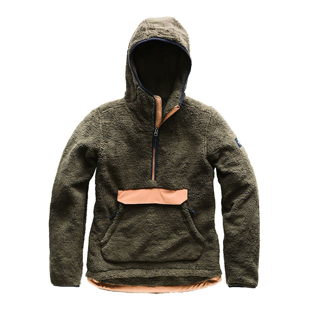 Womenus Campshire Sherpa Fleece Pullover Hoodie in New Taupe Green