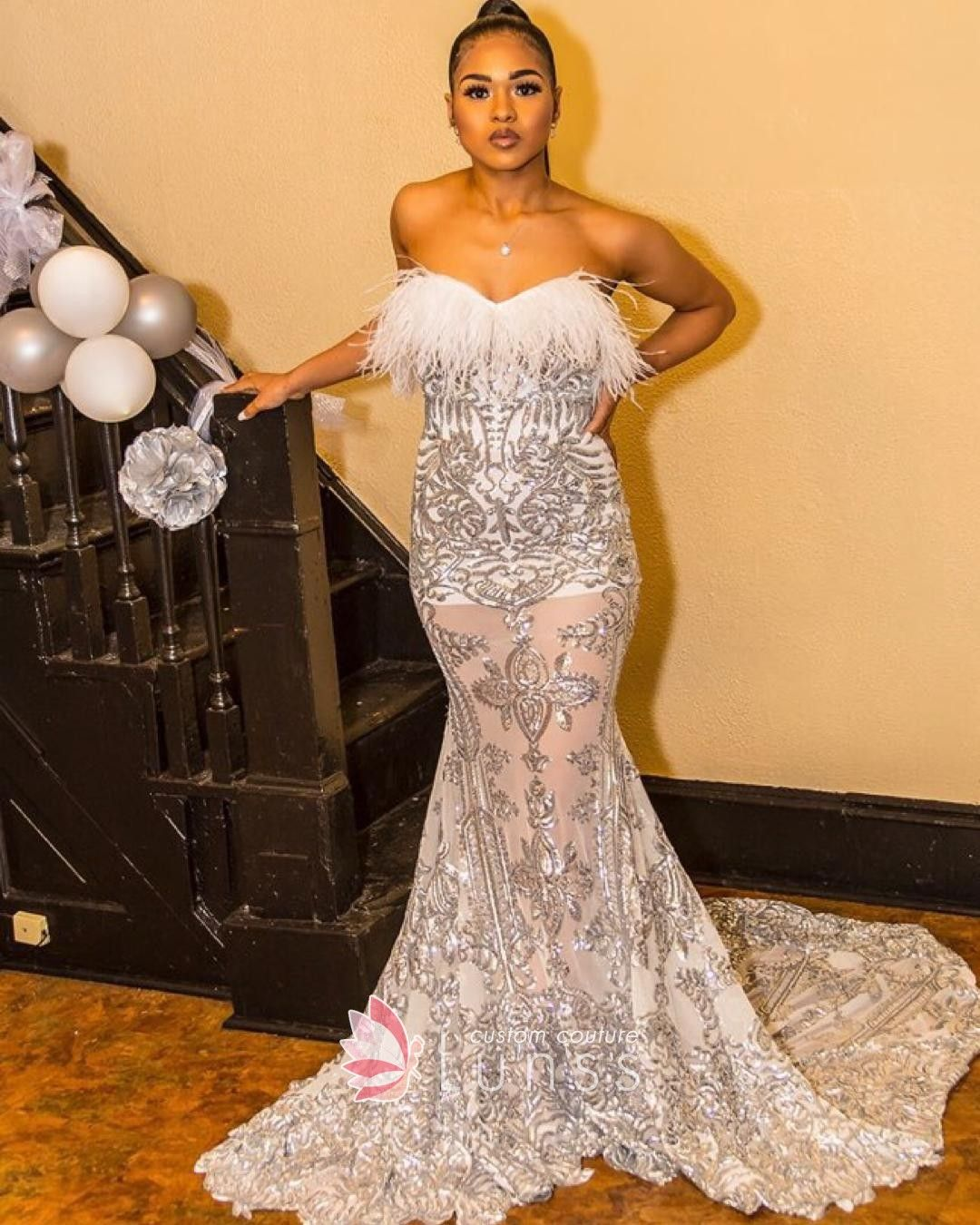 Strapless Evening Gown With Sheer Bodice Covered With: Silver Strapless Feather Sheer Mermaid Prom Dress In 2020