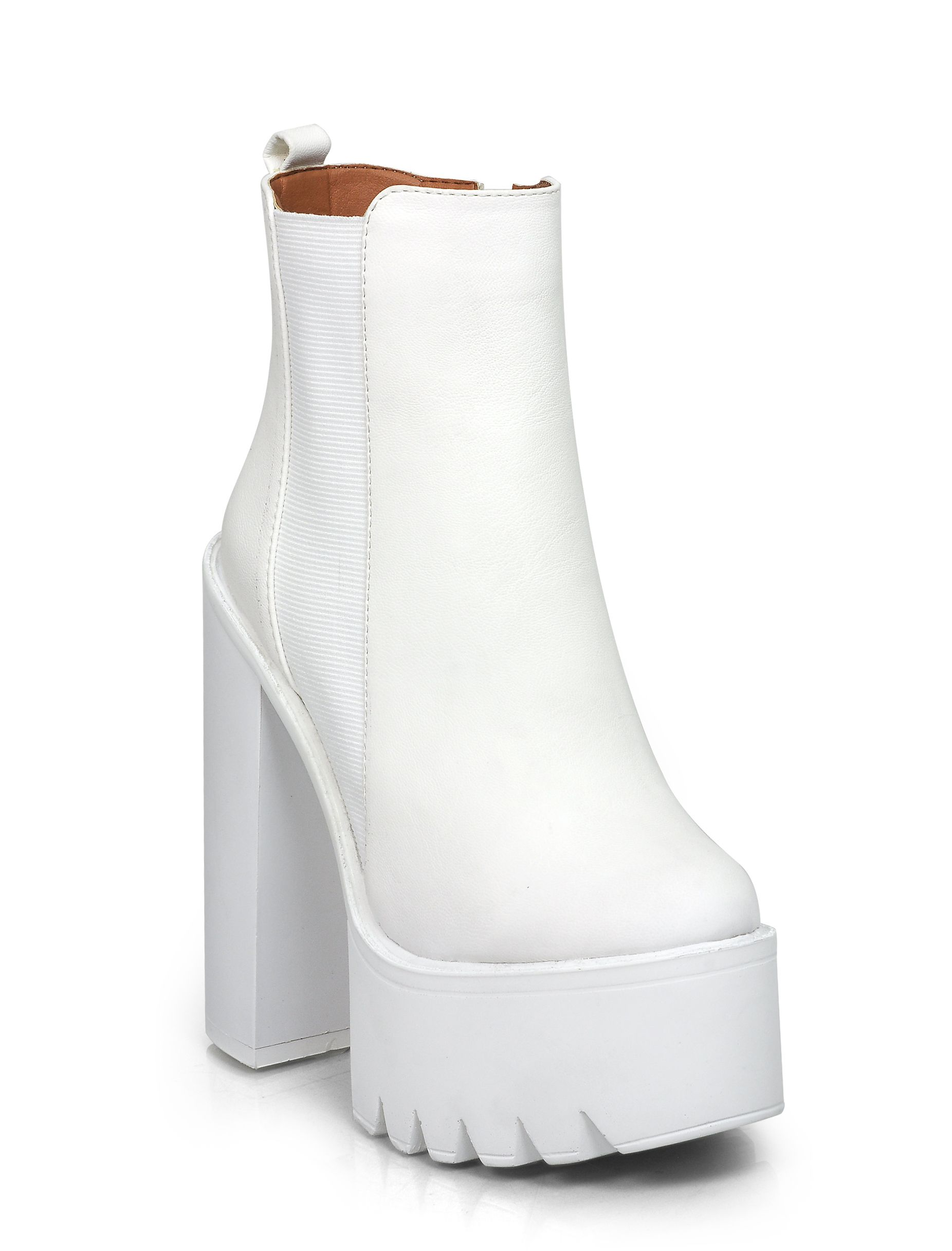 La Moda Saffron White Cleated Sole Boots  96711001194