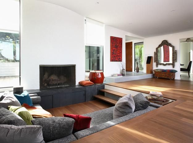 Attrayant Cozy Living Room Designs With Fireplaces Defined By Sunken And Raised Floor  Areas
