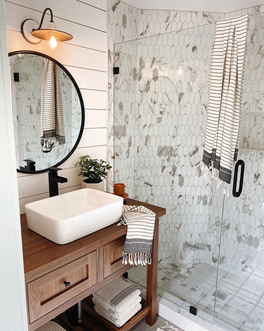 A S H L E Y P E T R O N E On Instagram Do You Think The New Tile Is Better Than The Old W Beautiful Bathrooms Bathroom Renovation Small Bathroom Remodel [ 1350 x 1080 Pixel ]