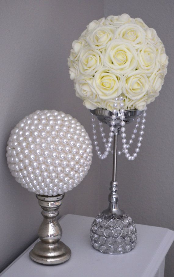 Ivory flower ball with draping pearls wedding by