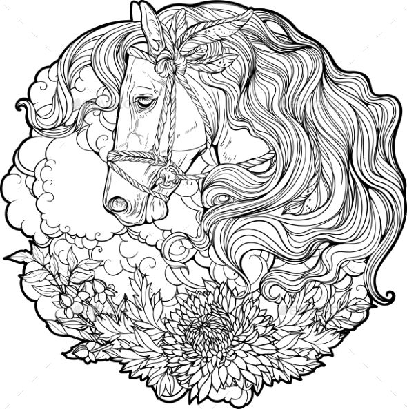 Portrait Of A Horse With Clouds And Flowers Horse Coloring Pages Animal Coloring Pages Horse Coloring