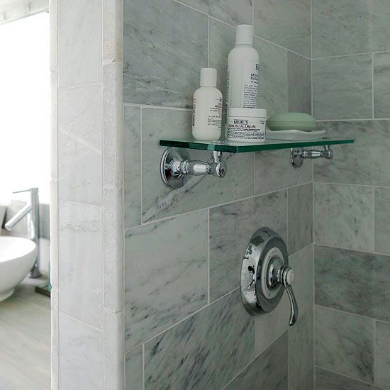 A Modern Country Bath Glass Shelves Shower Shelves Glass Bathroom