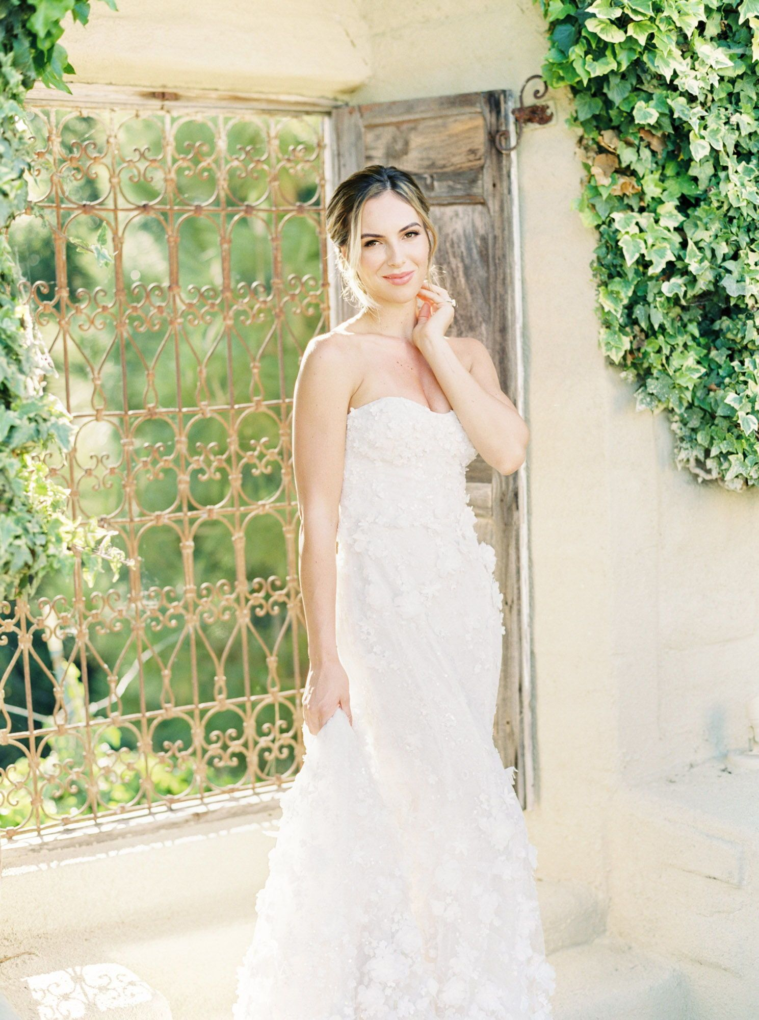 e4051a76 Bride next to ivy on wooden shutters wearing sweetheart Spring 2018 Marchesa  bridal gowns, backlit film image, Solvang Whispering Rose Ranch wedding by  film ...
