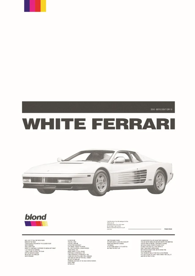 I want to share this poster that a Brazilian Graphic Designer (his name is Bruce Arbex) made for the song white ferrari. I found this awesome