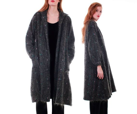 Vtg Gray Mohair Duster Sweater Long Overized Cardigan Speckled ...