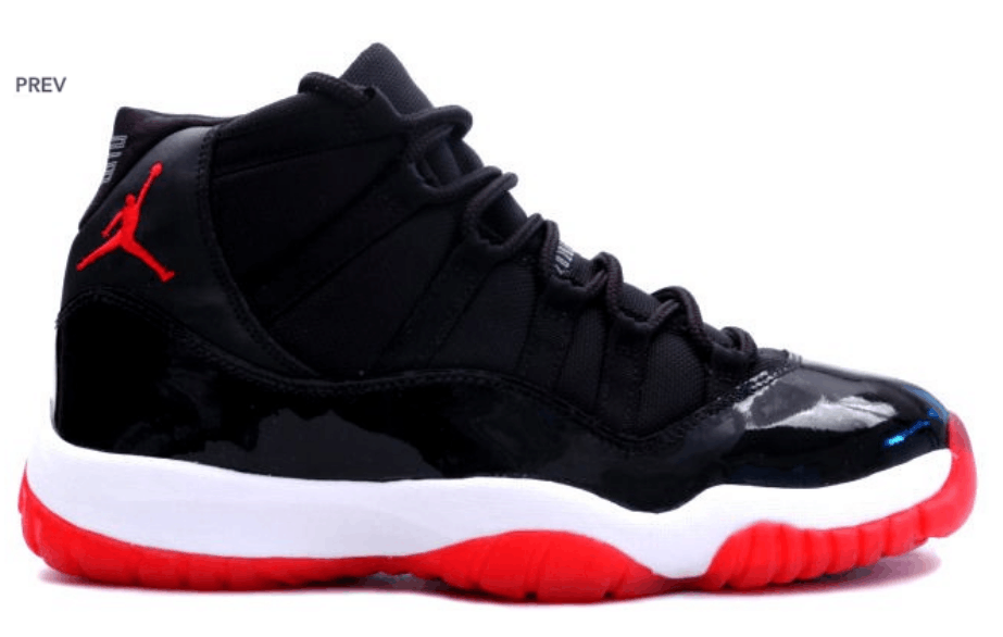 buy air jordan 11 (xi) bred 2012 black white varsity red playoffs womens shoe super deals from relia