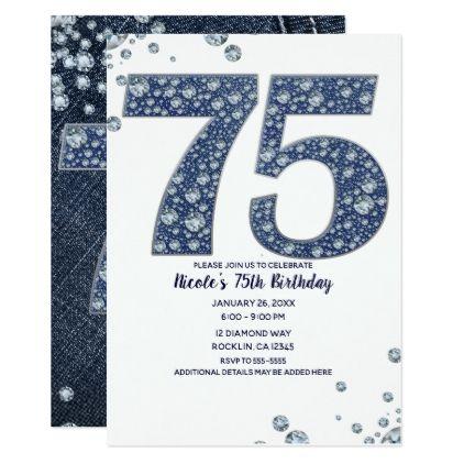 Denim Diamonds Bling Sparkle 75TH 75 Birthday Card