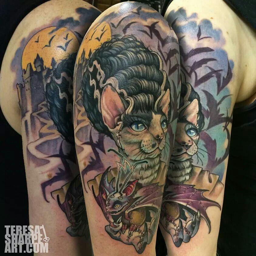 Tattooed Cat Lady Witch Tattoo Tattoos Body Tattoos