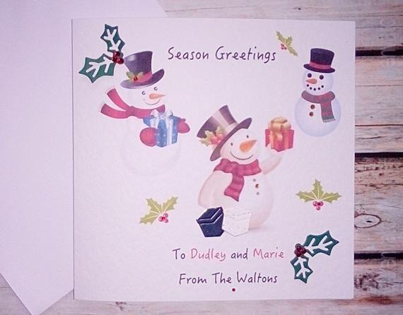 Merry Christmas Handmade PersonalisedCard/ individual names/mum / dad/ nanna/ grabdad etc/ Christmas #mumsetc