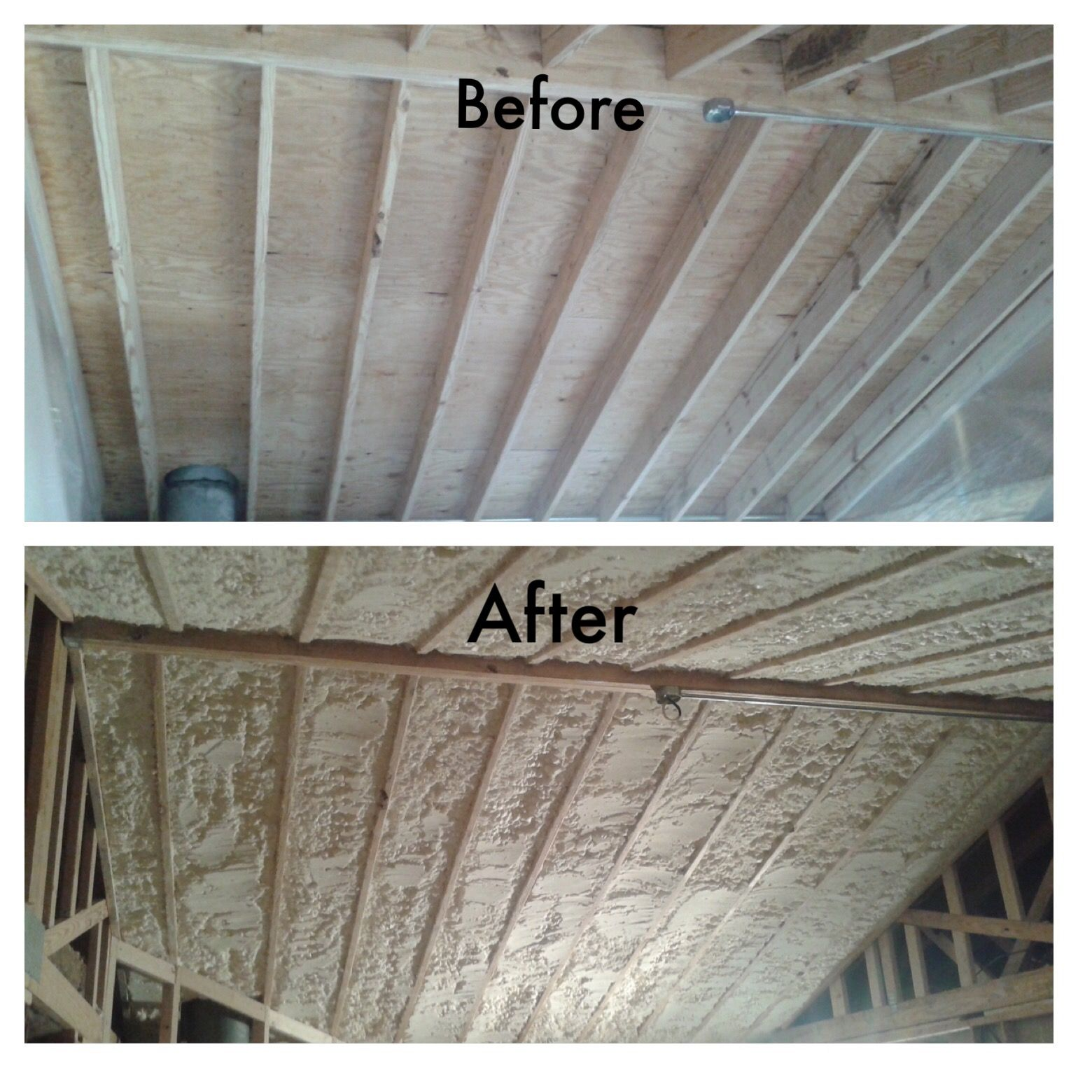 Before And After Shot Of Closed Cell Spray Foam Being Installed In A Roof Deck Completed By Mpi Foam Www Mpifoaminsulat Spray Foam Foam Spray Foam Insulation