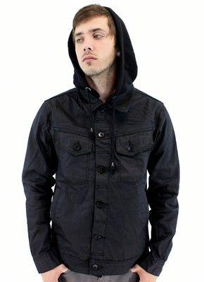 Kayden K Denim Jacket Hoodie Black Denim Jacket Mens Hiphop Urban Clothing | eBay