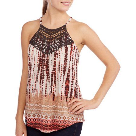 No Boundaries Juniors Halter Top with Crochet and Wooden Ring, Multicolor