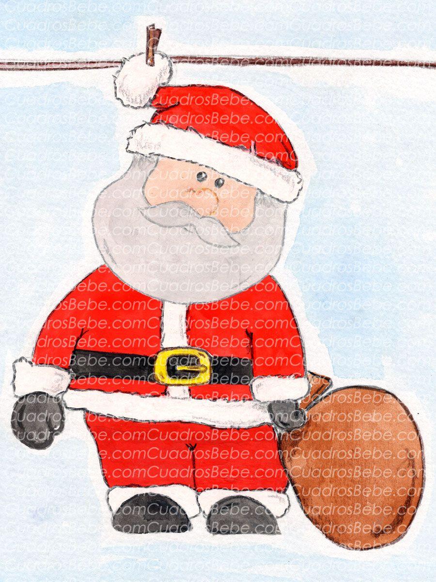 Cuadro Bebe Papa Noel O Santa Claus Con Su Traje Y Un Saco De Regalos Pintado A Mano Con Pintura Y Acuarela Para La Habitacion Christmas Diy Character Snoopy