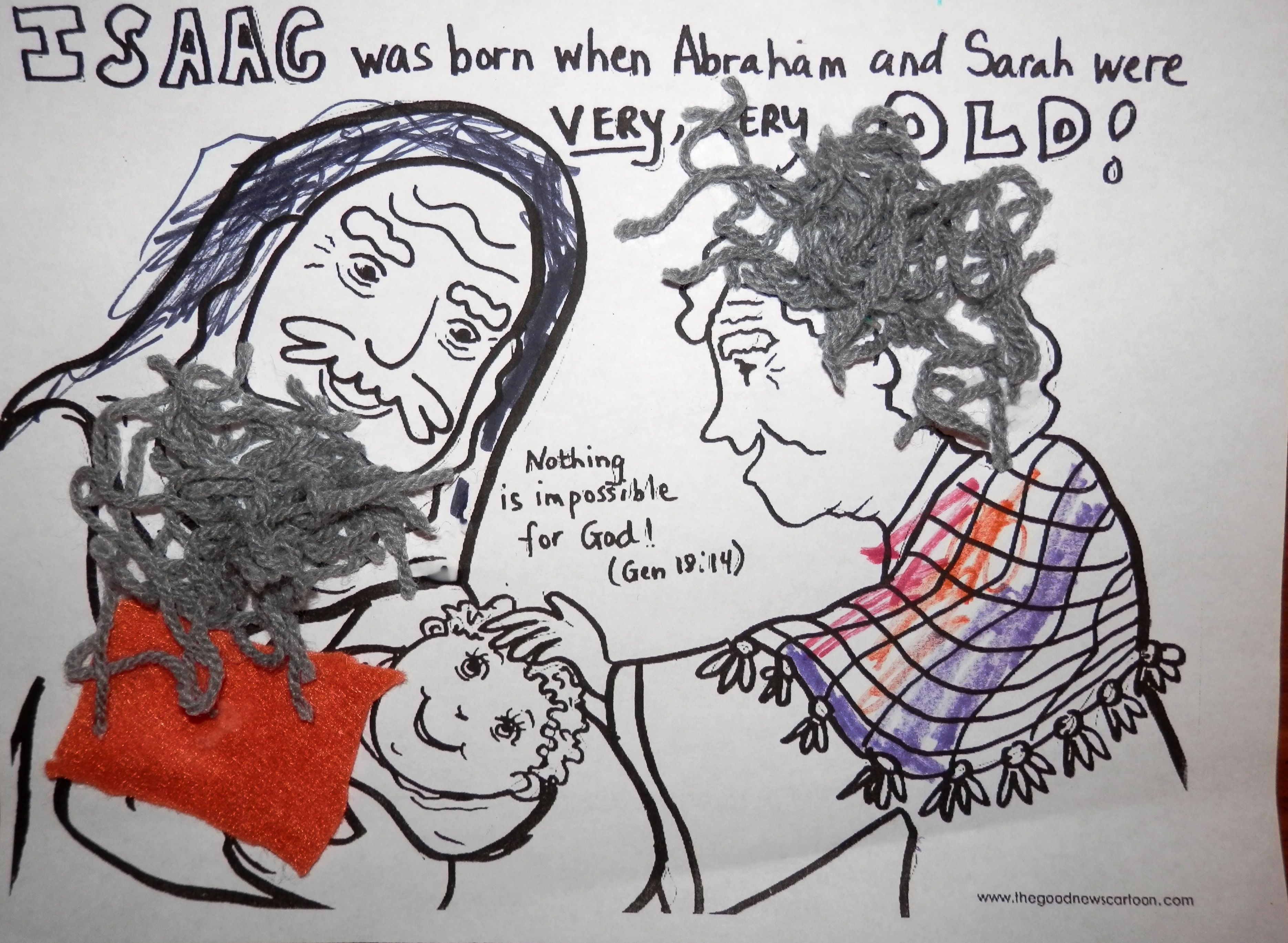 Abraham and Sarah have baby Isaac. I just found this photo on-line and provided gray yarn for the kids and felt pieces for the baby's blanket for them to glue and encouraged them to color the picture also.