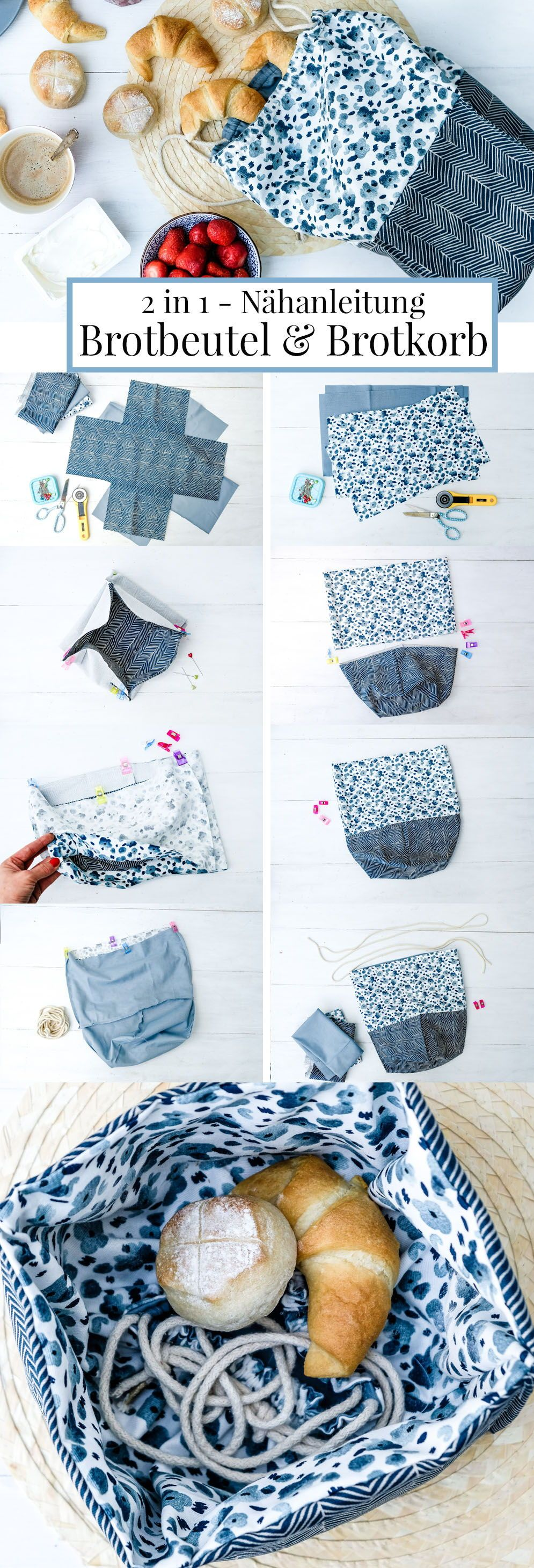 2 en 1 – instructions de couture pour un sac à pain et une corbeille à pain.   – Deutsche Nähanleitungen | german sewing tutorials