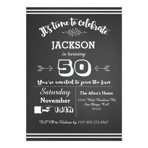 Adult Birthday Party Invitation 50th 60th 40th