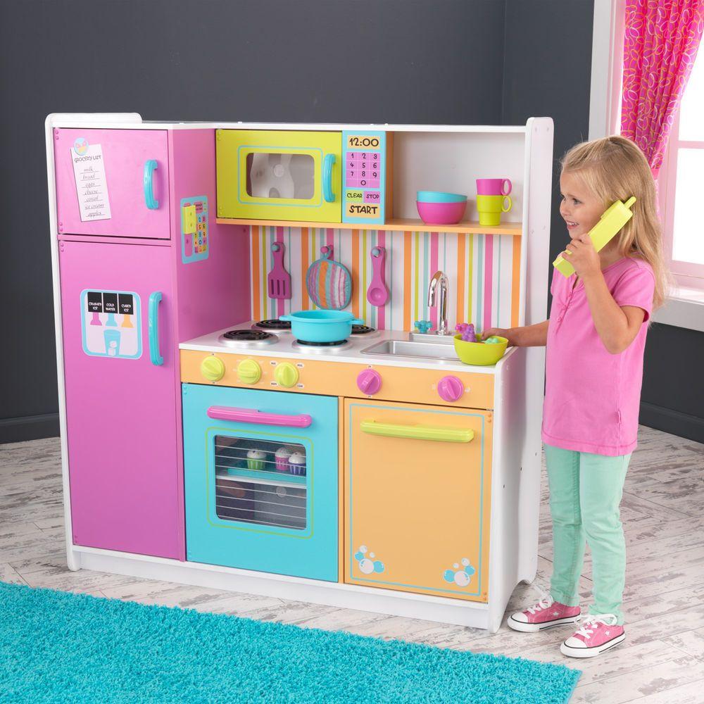 KidKraft Deluxe Big Bright Kitchen Toy Play Kids Set Cooking ...