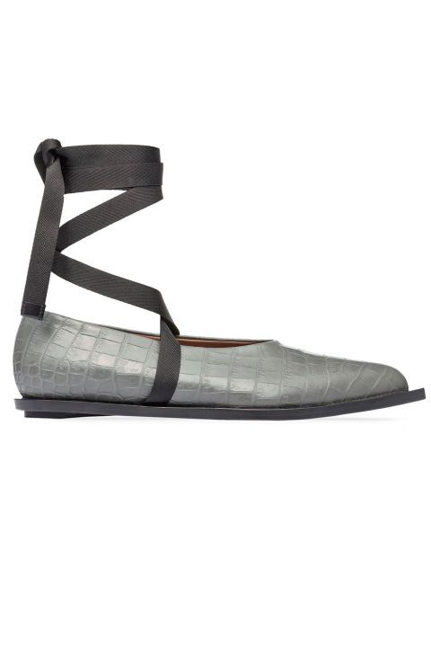 This grey crocodile print Marni Ballet Flat with black satin ribbon is perfect for fall. Buy it now: http://fave.co/2butmRS