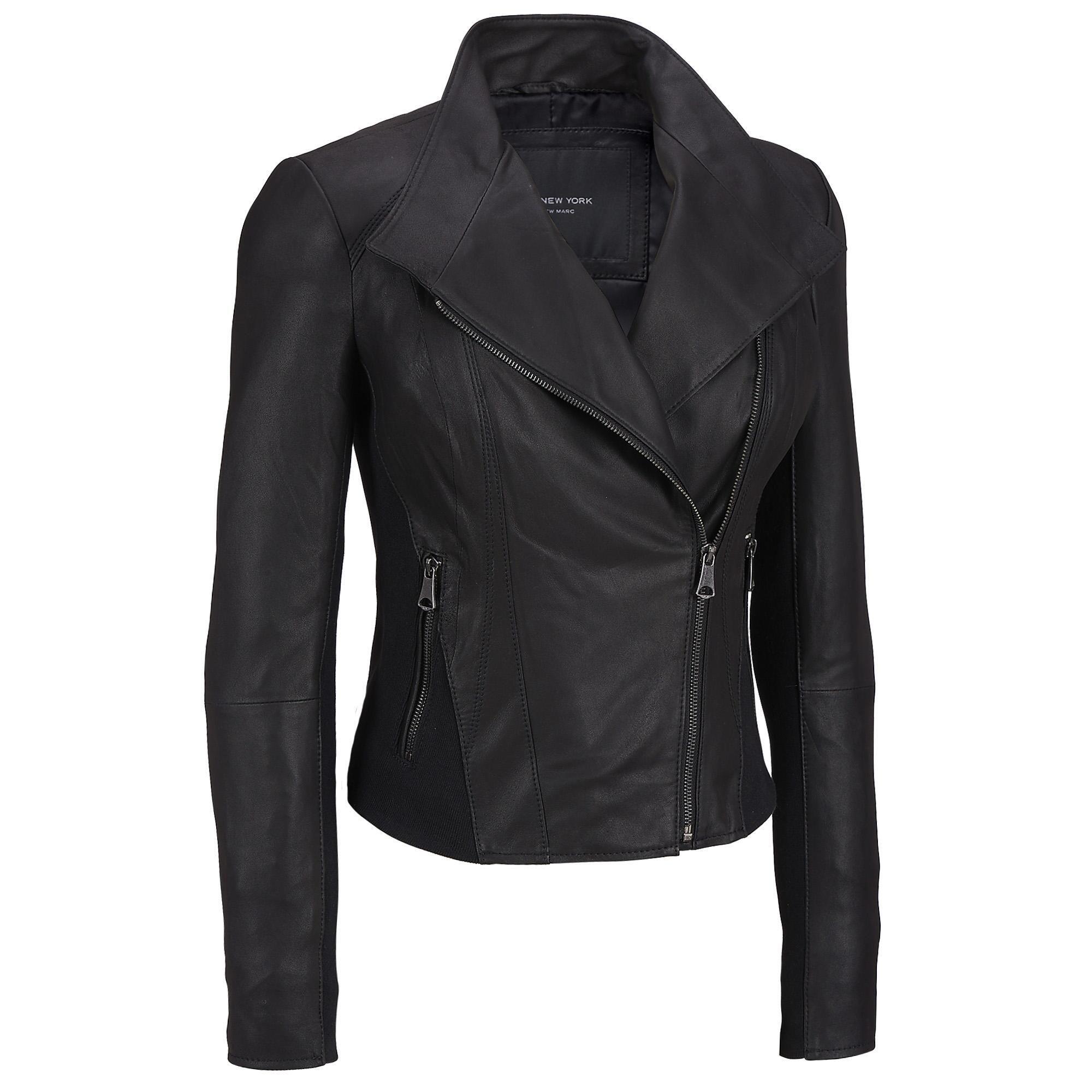 Leather jacket hoi an - Marc New York Asymmetrical Leather Moto Jacket W Knit Trim Was 750 00