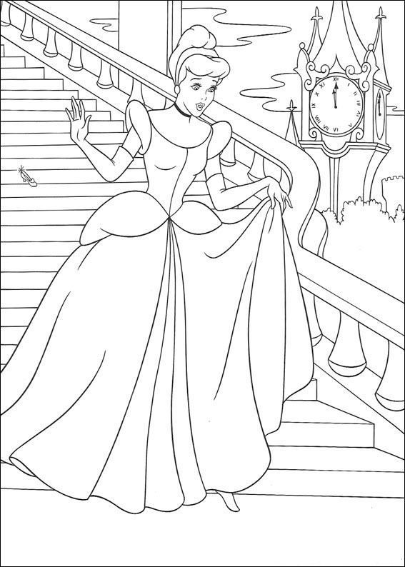 coloring page Cinderella - Leaving just before midnight | Card ...