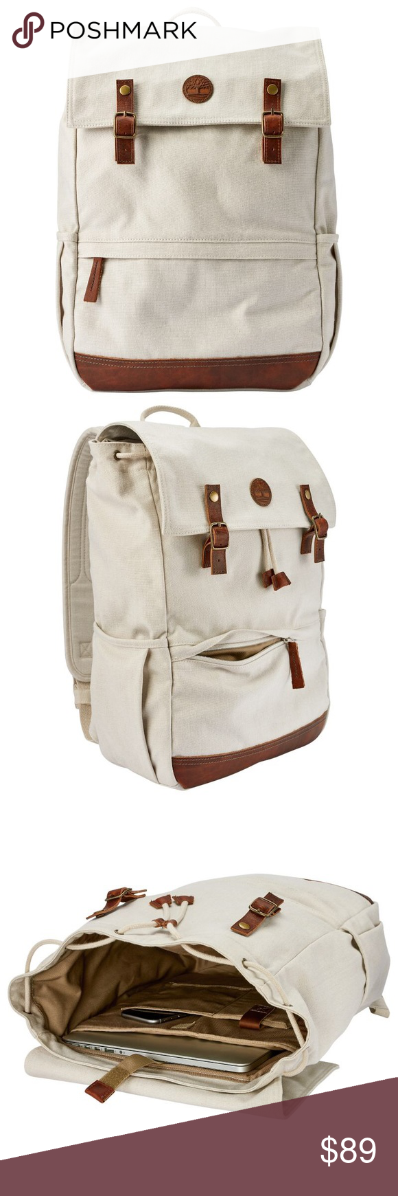 Timberland Ipswich Whitewashed Thread Backpack Timberland Ipswich  Whitewashed Thread Fabric Backpack A1LXC100 Off-White Canvas 293a308026118
