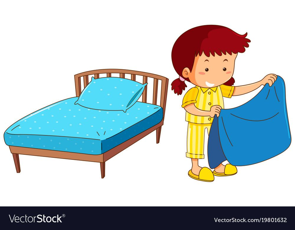 Girl Making Bed On White Background Vector Image On ศ ลปะอ สลาม